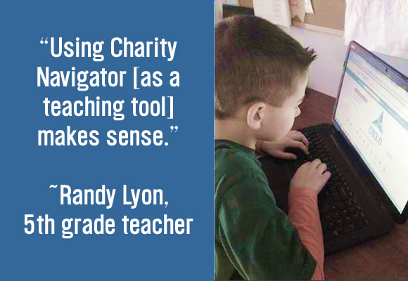 5th Graders Learning With Charity Navigator Header Image